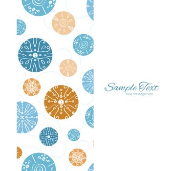 Vector abstract blue brown vintage circles back vertical frame seamless pattern background graphic design