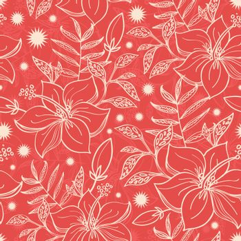 Vector red and beige tropical floral seamless pattern background graphic design