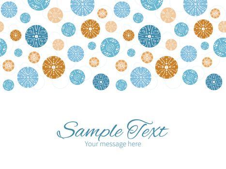 Vector abstract blue brown vintage circles back horizontal border greeting card invitation template graphic design
