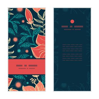 Vector vibrant tropical hibiscus flowers vertical frame pattern invitation greeting cards set graphic design