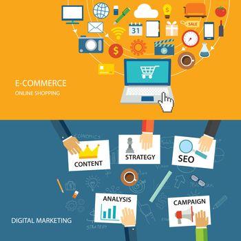 digital marketing and e-commerce flat design
