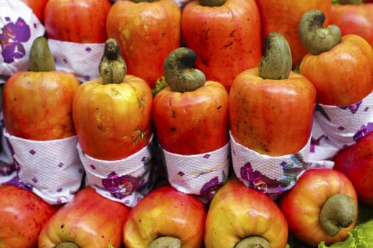 Exotic fruit Brazilian caju cashew exposed in the Market