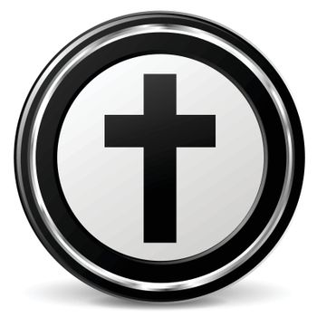 illustration of christianity black and silver icon