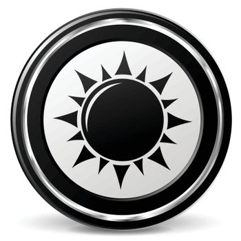 illustration of sun black and silver icon