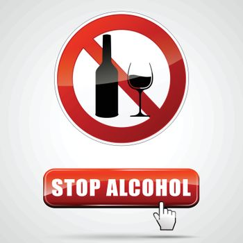 illustration of stop alcohol sign with web button