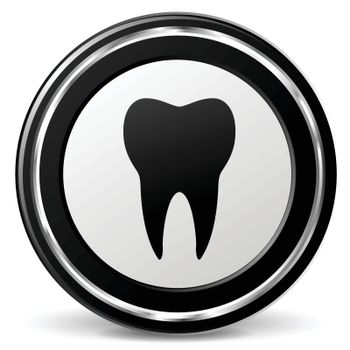 illustration of tooth black and silver icon