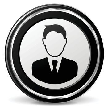 illustration of business man black and silver icon