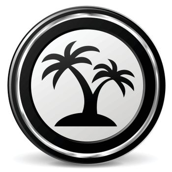 illustration of palm black and silver icon