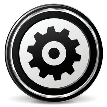 illustration of gear black and silver icon