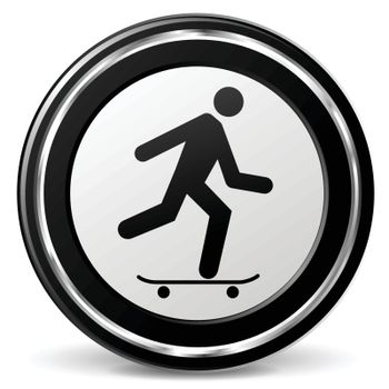 illustration of skateboard black and silver icon