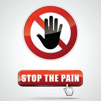 illustration of stop pain sign with web button