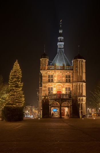 Illuminated market place in the city of Deventer in the center of the Netherlands because of a special Charles Dickens weekend