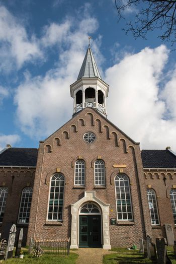 Authentic church in the centre of Midsland on the island of Terschelling in the Netherlands