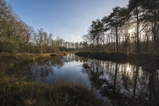 The Nonnenven nature reserve in the hamlet Kotten nearby Winterswijk in the Netherlands. The Lake was formed by excavation of ground used for the railway line between Borken (D) to provide a higher embankment. The railway is currently no longer in use and returned to nature.