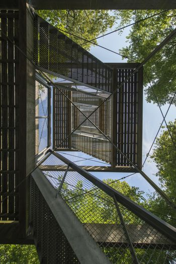 Lookout Tower in a Drents forest near Exloo in the North of the Netherlands