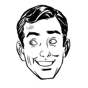 sketch joke smile head male