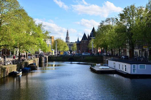 New market and canal in Amsterdam