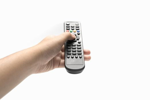 hand holding remote