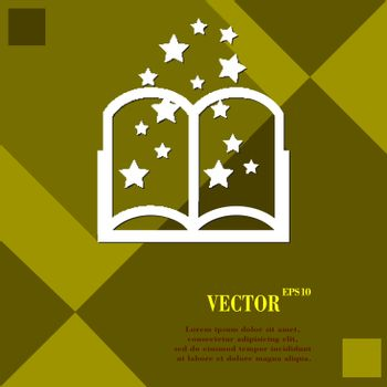Magic Book icon symbol Flat modern web design with long shadow and space for your text. Vector