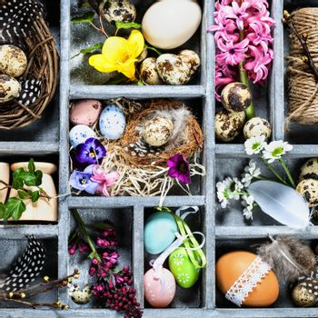 Easter decorations in wooden box
