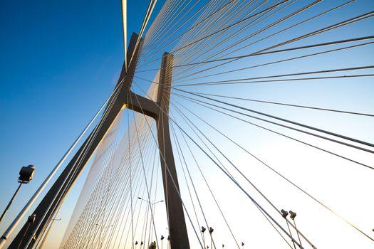 Bridge in Wroclaw, saturated landmark view