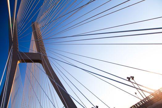 Modern bridge, saturated landmark view