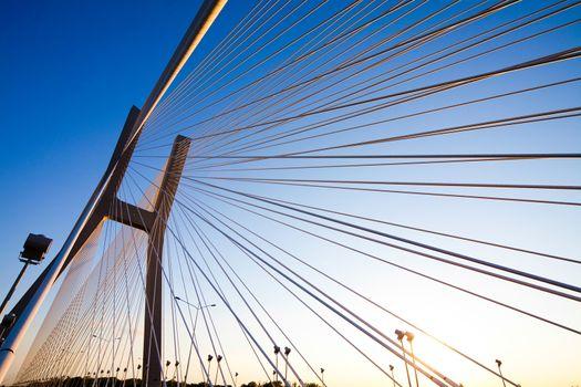 Huge bridge, saturated landmark view