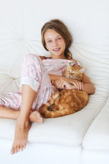 Child and a pet