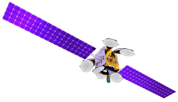 3D model of an artificial satellite of the Earth, equipped with solar panels and parabolic satellite communications antenna