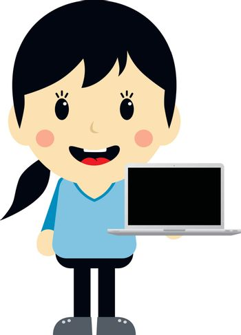 cute girl with laptop cartoon character