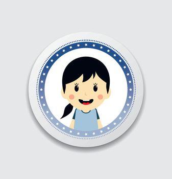 cute girl cartoon character label
