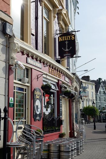 barrels in front of kellys bar in cobh county cork ireland