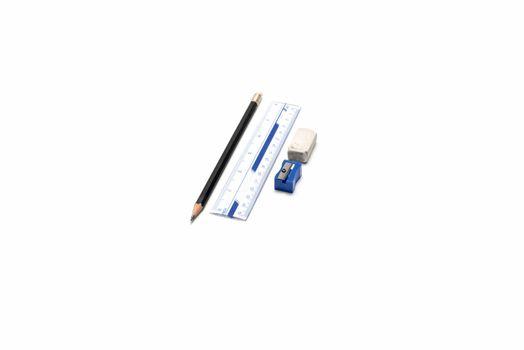 pencil ruler eraser and sharpening