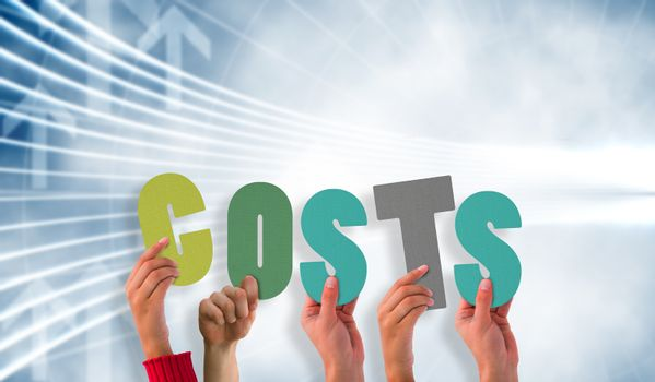 Composite image of hands holding up costs