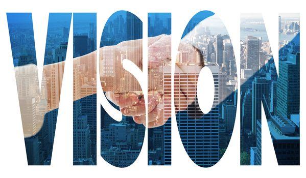 Vision against city skyline