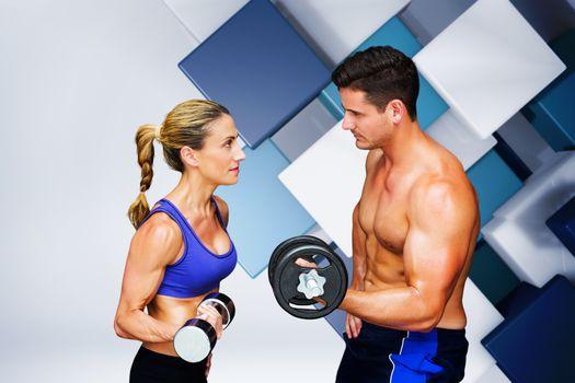 Composite image of bodybuilding couple
