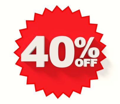 Red star with 40% sale sign