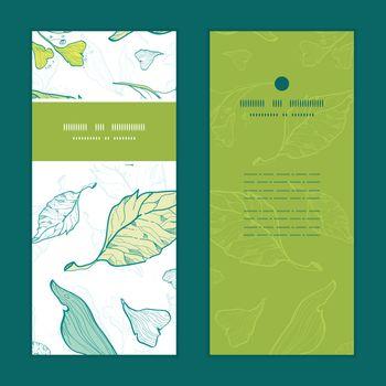 Vector lineart spring leaves vertical frame pattern invitation greeting cards set graphic design