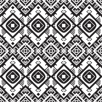 Vector black and white geometric seamless pattern graphic design