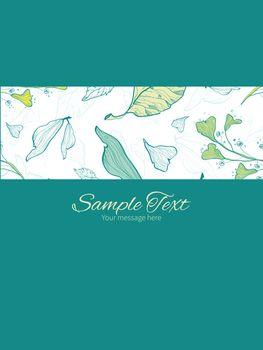 Vector lineart spring leaves stripe frame vertical card invitation template graphic design