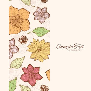 Vector warm fall lineart flowers vertical frame seamless pattern background graphic design