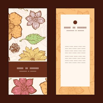 Vector warm fall lineart flowers vertical frame pattern invitation greeting cards set graphic design