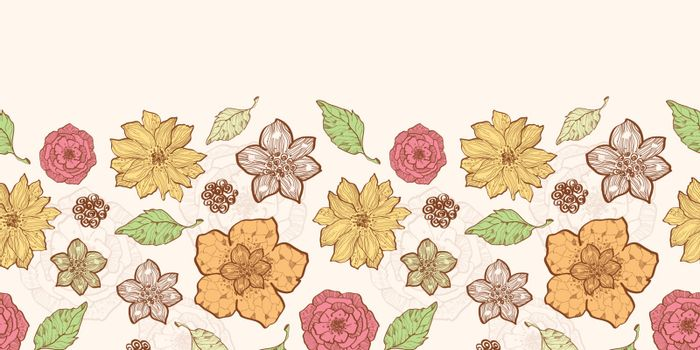 Vector warm fall lineart flowers horizontal border seamless pattern background graphic design