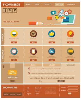 e-commerce website template flat design