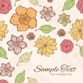 Vector warm fall lineart flowers frame corner pattern background graphic design