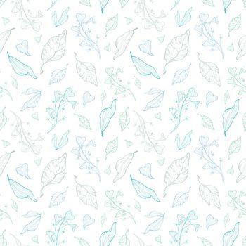Vector pastel line art leaves seamless pattern graphic design