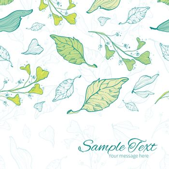 Vector lineart spring leaves horizontal border card template graphic design