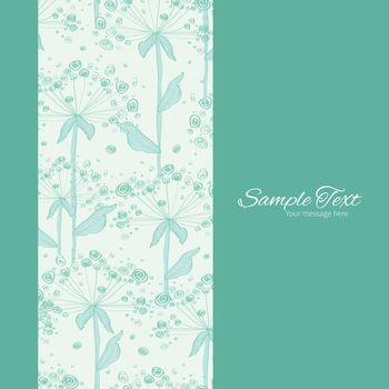 Vector summer line art dandelions vertical frame seamless pattern background graphic design