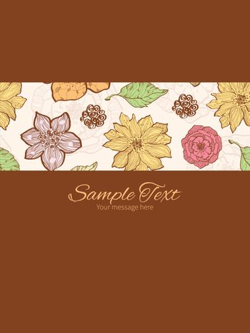 Vector warm fall lineart flowers stripe frame vertical card invitation template graphic design