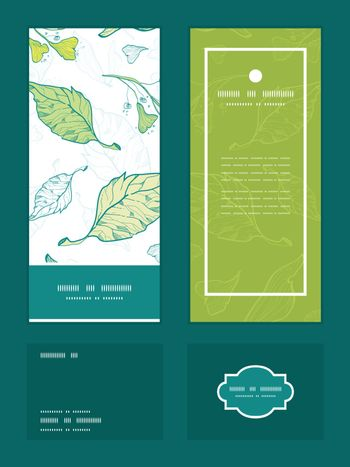 Vector lineart spring leaves vertical frame pattern invitation greeting, RSVP and thank you cards set graphic design